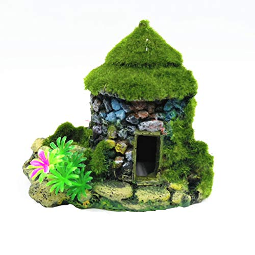 TTbuy Cute Fish Tank Aquarium Ornament Mini House Flocking Moss Small Tree Hole Stone Cottages House Miniature Decoration Accessories (Stone Style)