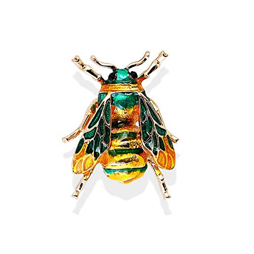 Colorful Enamel Insect Honey Bee Brooch,Cute Small Badges Unisex Insect Brooch Pin for Women Men Birthday Gifts - Brooch Enamel Green Flower