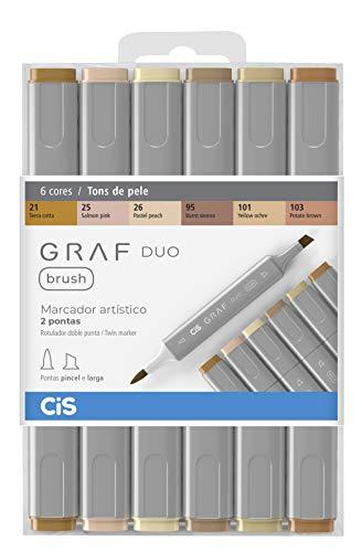 Marcador Artístico 2 Pontas, CiS, Graf Duo Brush, 60.87, 6 Cores, Tons Pele