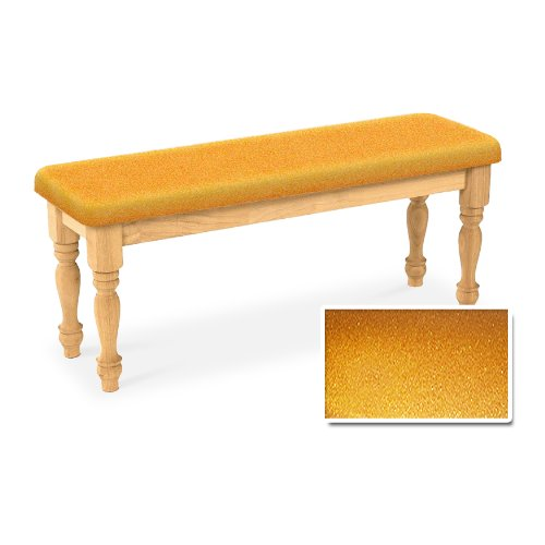 Wood Country Style Farmhouse Natural Dining Bench with Gold Glitter Vinyl Cushion (Nook Sale Breakfast Cushions)