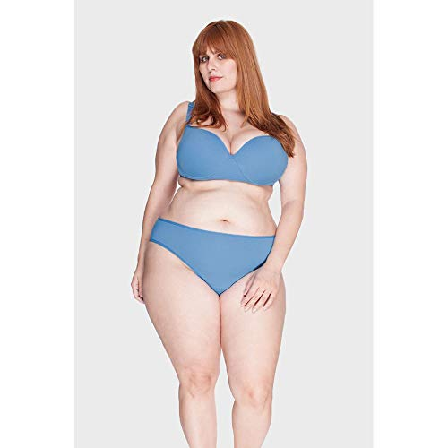 Calcinha Laterais Largas Plus Size Azul Claro-48