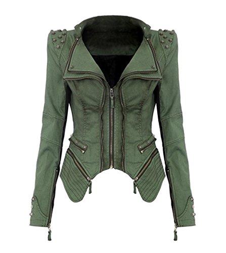 Con Spalla Lunga Jeans Besetzter Denim Blazer Donna Manica Minetom Punk Giacche Jacke Verde Giacca Rivetto gqt4HX7