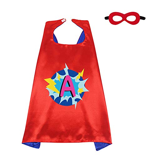 Red Superhero-Cape and Mask for Kid Costume with Name 26 Letter Initial (Cape-A) -