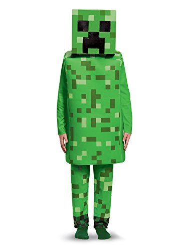 Creeper Costume - Creeper Deluxe Minecraft Costume, Green, Small