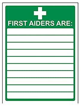 VSafety First Aiders Sign Self Adhesive Vinyl 150mm x 200mm