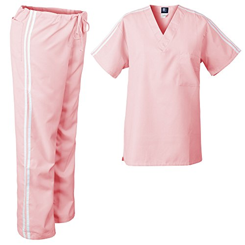 - Medgear Medical Scrubs Set with Athletic Stipe Detail Top & Drawstring Pants (M, Pink)