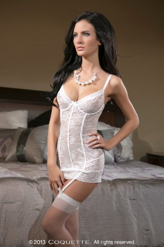 Coquette 1336 Women's Stretch Lace Underwire Cup Chemise With Scalloped Stretch Lace On Cups And Hem Chemise Features Center Front Bow, Removable Garters And Adjustable Straps Color:White Size:L by C