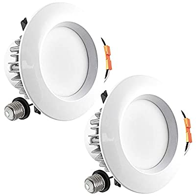 Luxrite 4 Inch LED Recessed Ceiling Light, 9W (60W Equivalent), 3000K Soft White, 684 Lumens, Dimmable, ENERGY STAR, Damp Rated, Recessed Downlight, UL Listed