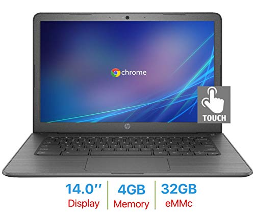 2019 HP Premium 14'' Chromebook Touchscreen HD Laptop PC, Intel Celeron N3350 up to 2.4GHz, 4GB RAM, 32GB Memory, WiFi, Built-in Virus, Webcam, Bluetooth, Up to 10 hrs Battery Life, Chrome OS ()