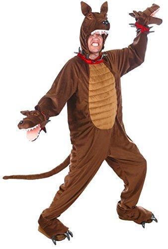 Brown Cerberus Three Headed Guard Dog Costume Adult Jumpsuit Animal -