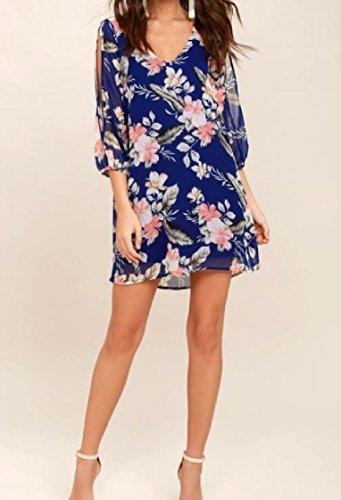 Length Dress Neck Loose 3 Split Coolred Summer 4 Women Printed Blue V xqpnTv1Ow0