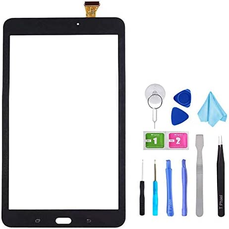 Black Touch Screen Digitizer for Samsung Galaxy Tab E 8.0 – Glass Replacement for SM-T377 T377A T377V(Not Include LCD) with Tools + Pre-Installed Adhesive