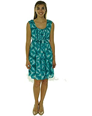 Calvin Klein Womens Printed Pleated Casual Dress Green 6