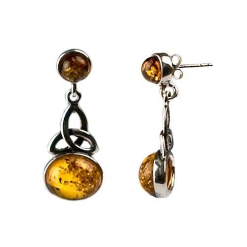 Honey Amber Sterling Silver Celtic Earrings ()
