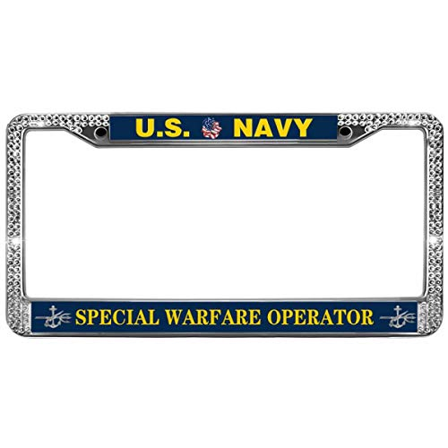 GND United States Navy Crystal Bling License Plate Frame,US Navy Special Warfare Operator Bling Bling License Plate Frame Crystal Metal Chrome License Plate Frame for US Cars