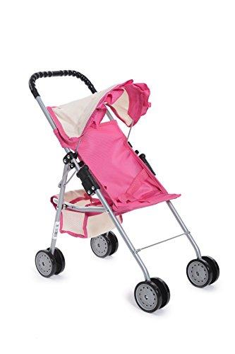 Exquisite Buggy, My First easy Doll Stroller Pink & Off-White with Basket in the bottom