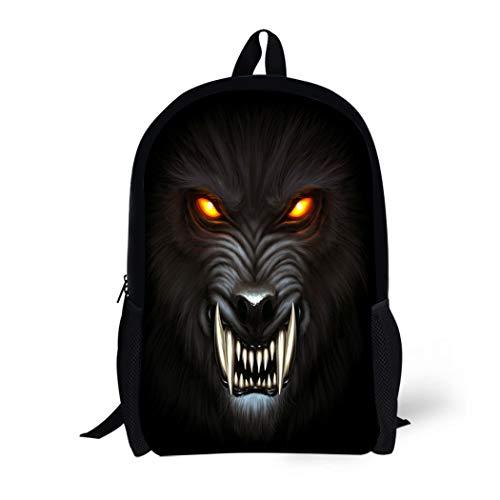 Pinbeam Backpack Travel Daypack Animal Angry Werewolf Face in Darkness Digital Painting Waterproof School Bag -