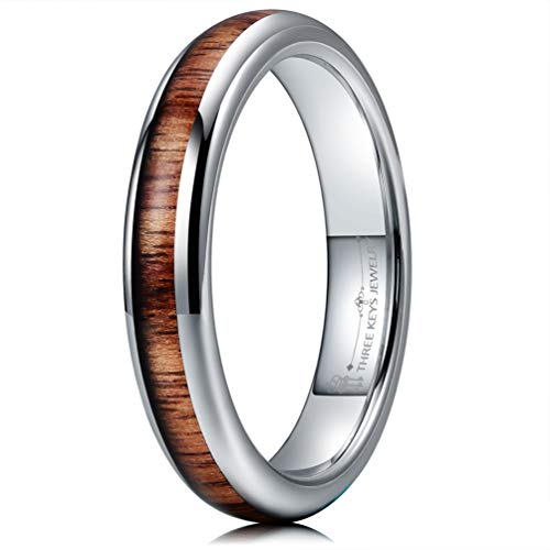 Three Keys Jewelry 4mm White Tungsten Carbide Wedding Ring for Women with Koa Wood Inlay Domed Wedding Band Engagement Ring Comfort Fit Size 7 ()