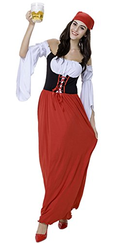 [JinYe Women's Germany Oktoberfest Maid Costume Party Show Dance Dress Outfit] (Mardi Gras Outfit Ideas)