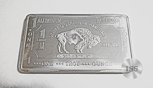 Fine .999 (Aluminum) Buffalo Bison Bars, Each Weighs 1 Troy Ounce Ingot, Superb Addition to Metal Collection, Part of a Unique Collectable Series, Iconic Design, Pure Fractional Industrial (Aluminum)