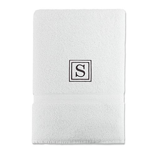 Luxor Linens 100% Egyptian Cotton Bath Towel, Oversized, Black Monogrammed Letter