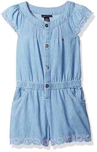 Tommy Hilfiger Little Girls' Chambray Romper, Blue, 6