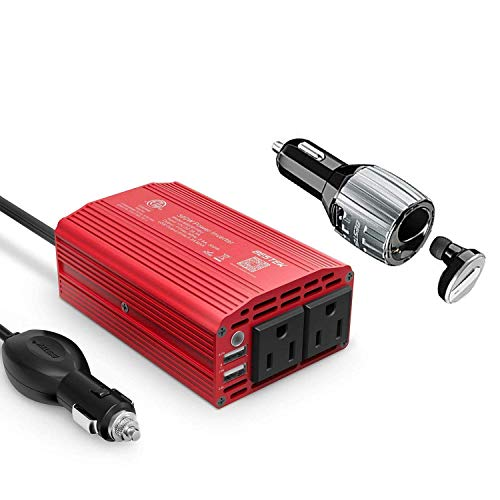 BESTEK 300W Power Inverter DC 12V to 110V AC Car Inverter with 4.2A Dual USB Car Adapter with Bluetooth Earbuds