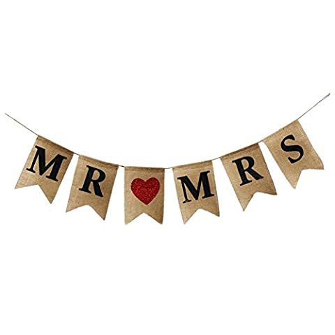 SODIAL(R) Flax color Swallowtail Flags Black Letter MR MRS + Red Love swallowtail Flags Pull flowers Wedding Banner Party Car Decoration - Flax Color