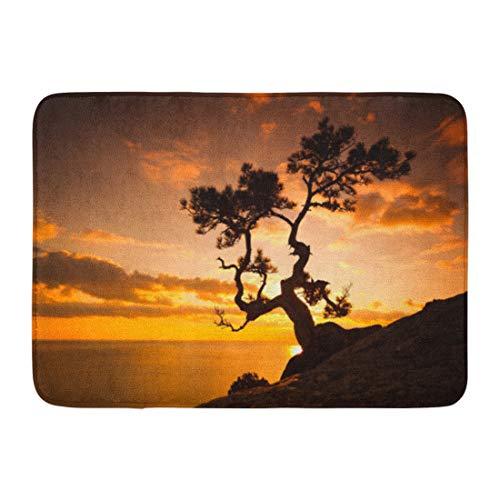 (Emvency Doormats Bath Rugs Outdoor/Indoor Door Mat Orange Landscape Zen is Tree Cliff Rocks and Sunset Over The Sea Nature Infinity Bathroom Decor Rug Bath Mat 16