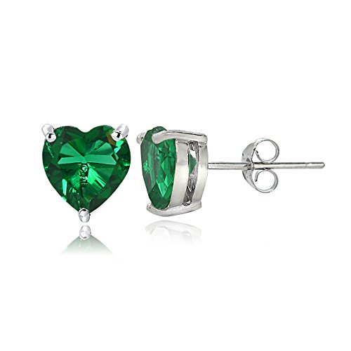 Sterling Silver Created Emerald 6mm Heart Stud - Shaped Emerald Heart