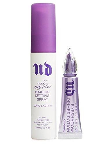 UD Makeup Lockdown Travel Duo Set: All Nighter Makeup Setting Spray + Eyeshadow Primer Potion Original Formula (Urban Decay Duo)