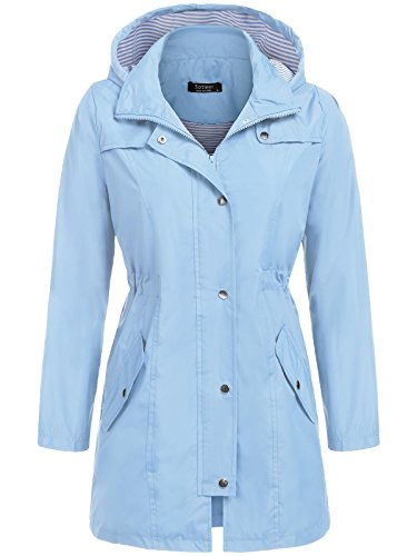 (SoTeer Rain Jacket Women Waterproof with Hood Lightweight Raincoat Active Outdoor Windbreaker (Lake Blue, L))