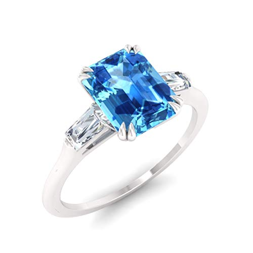 Diamondere Natural and Certified Blue Topaz and Diamond Baguette Engagement Ring in 14K White Gold | 0.67 Carat Three Stone Ring for Women, US Size 8.5