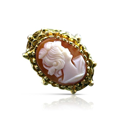 Milano Jewelers LARGE 14KT YELLOW GOLD HAND CARVED LADY CAMEO SHELL FILIGREE RING #19952