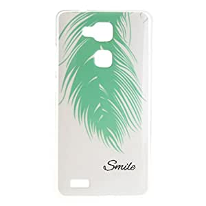 For HUAWEI Ascend Mate7 , ivencase Beautiful Green Feather Slim Pattern [Soft TPU Gel] Texture Ultra Thin Flexible Bumper Protective Rear Skin Case Cover Perfect Fit for HUAWEI Ascend Mate7