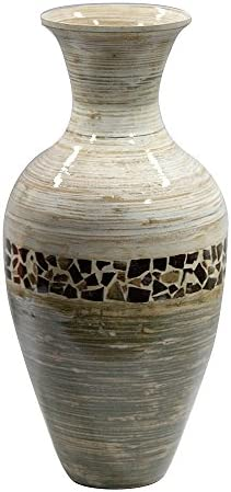 Heather Ann Creations W33954-CDWHGY Crafted Classic Large Water Jug Spun Bamboo Vase