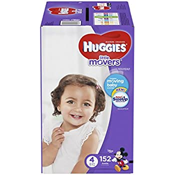HUGGIES LITTLE MOVERS Diapers, Size 4 (22-37 lb.), 152 Ct. (Packaging May Vary), Baby Diapers for Active Babies
