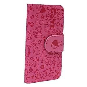 TY-Caja de cuero linda niña de dibujos animados patrón completo para iphone 5/5s (rosa)