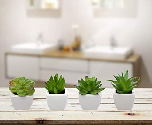 set of 8 small green succulent artificial house plants ceramic pots home office buy online in. Black Bedroom Furniture Sets. Home Design Ideas