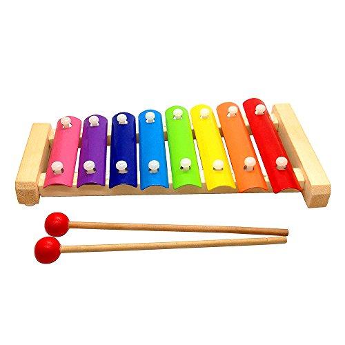 bois multi couleur xylophone en bois jouets musicaux instrument pour b b et enfants 8 tones. Black Bedroom Furniture Sets. Home Design Ideas