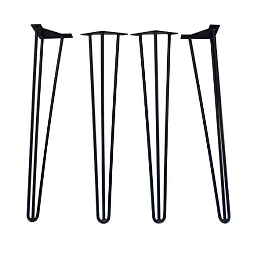 """30"""" Hairpin Legs Set Of 4 Hairpin Legs 3 Rod Style Black Powder Coated Very Strong (30 inch)"""