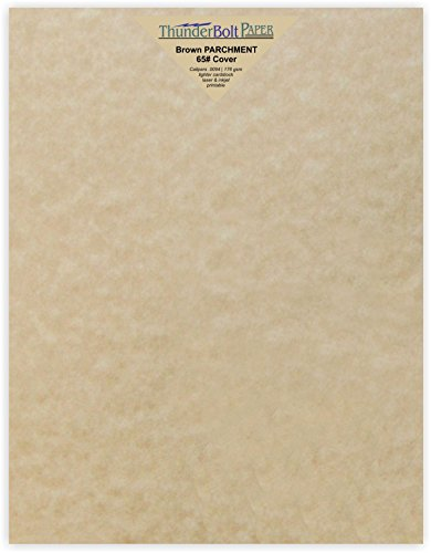 25 Sandy Brown Parchment 65lb Cover Weight Paper 8.5 X 11 Inches Cardstock Sand Colored Sheets Letter Size -Printable Old Parchment Semblance ()