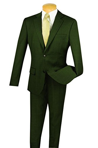 (Fortini 100% Wool 2 Botton Single Breated Window Pane Slim Fit Suit 2WWP-1-Olive-46L)