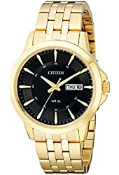 Citizen Men's BF2013-56E Gold-Tone Stainless Steel Watch with Black Dial