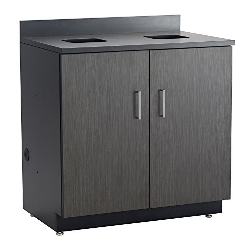 (Safco Products 1704AN Modular Hospitality Breakroom Base Cabinet, Waste Management, 2 Door Compartment, Asian Night Base/Black Top)
