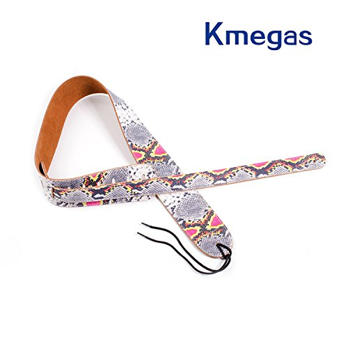 KMEGAS Serpentine Genuine Leather Adjustable 3-inch Wide Guitar Strap for All Electric, Acoustic, Classical and Bass Guitars with Snakeskin Design