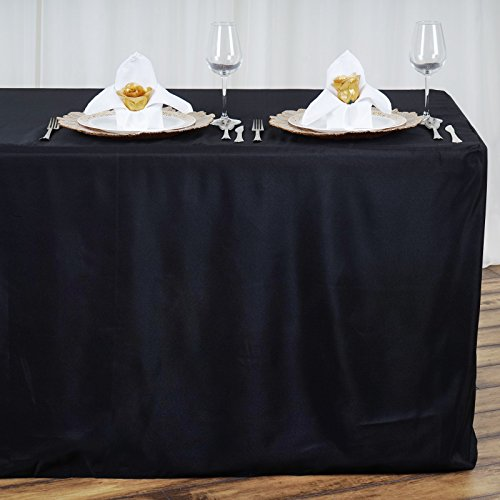 LinenTablecloth 8 ft. Fitted Polyester Tablecloth Black from LinenTablecloth