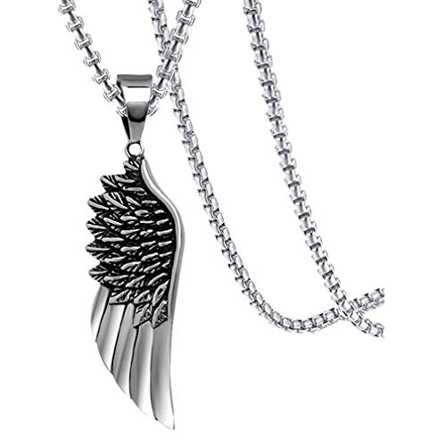 Xusamss Hip Hop Titanium Steel Angel Wing Pendant Necklace with 24
