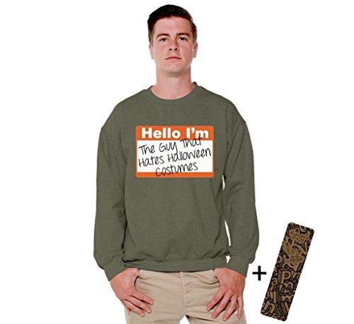 Awkwardstyles Halloween Crewneck The Guy That Hates Halloween Costume + Bookmark 5XL Military Green (Hocus Pocus Costume Shop)