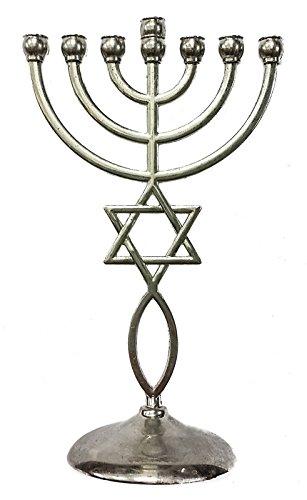 Silver Messianic Temple Menorah 7 Branches Star Of David ...